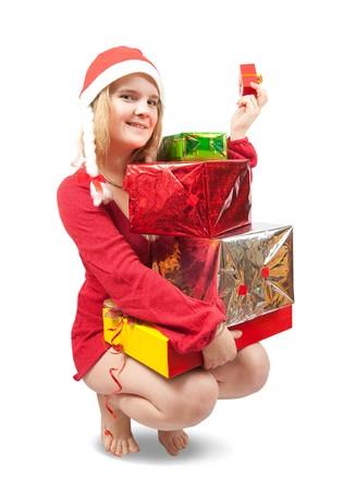 sexy blonde girl: Sexy Blondynka z kilku kolorowego prezenty Zdjęcie Seryjne