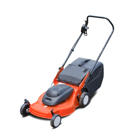 lawn mower: Orange lawn mower. Isolated over white background Stock Photo