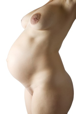 Closeup of  naked pregnant woman over white Stock Photo - 7873520