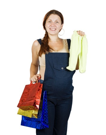 babygro: pregnant woman with shopping bags. Isolated