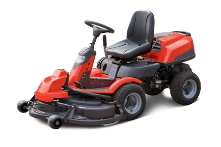 lawn mower: Red lawn mower. Isolated over white background Stock Photo