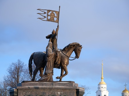 Monument of Prince Vladimir against  Assumption cathedral at Vladimir in winter, Russia photo
