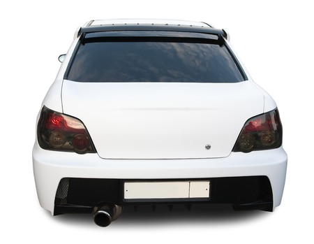 rear wheel: Rear view of white car on white. Stock Photo