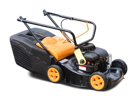yellow lawn mower. Isolated over white background Stock Photo - 7966040
