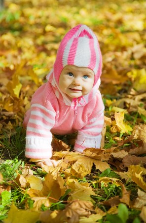 Portrait of little girl against autumn nature Stock Photo - 8000711