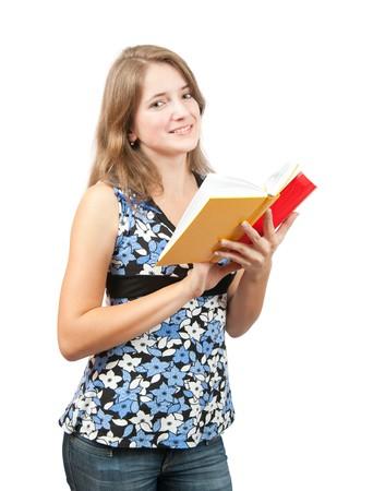 teener: Long-haired teen girl reading book over white