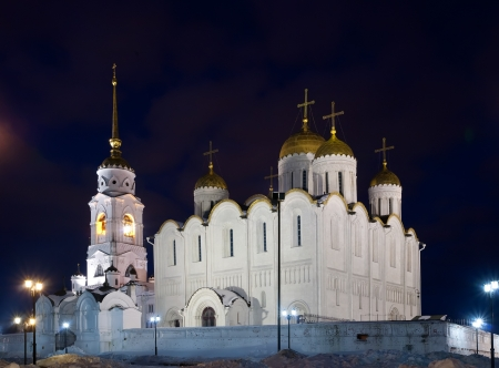 Assumption cathedral at Vladimir in winter  night, Russia photo