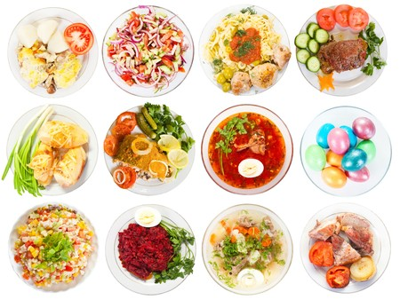 Set of 12 plate with tasty food. Isolated over white background photo