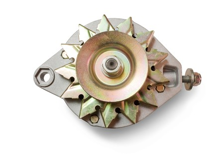 alternator: automotive power generating alternator. Isolated on white