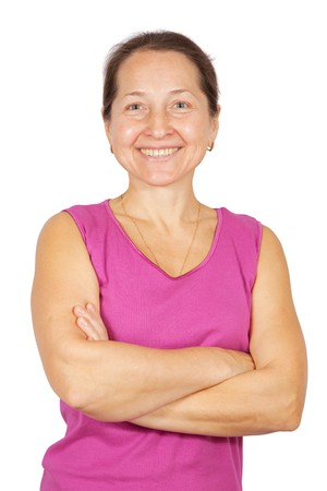 Portrait of happy mature woman. Isolated over white background photo