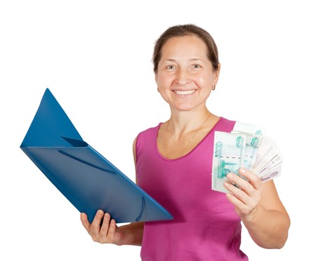 mature woman  with paper folder and money, isolated on white background. photo