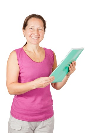 mature woman in sport outfit with  documents over white photo