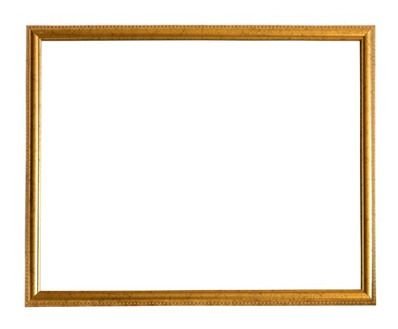 outage: Modern thin gold picture frame, isolated