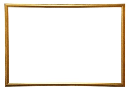 simple frame: Modern thin gold picture frame, isolated