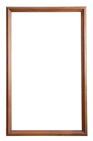 thin wooden picture frame, isolated  photo