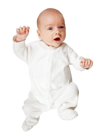 romper: 1 month  baby in white romper over white background