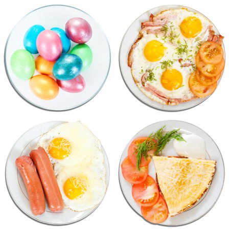 4 various food from eggs. Isolated over white background with clipping path photo