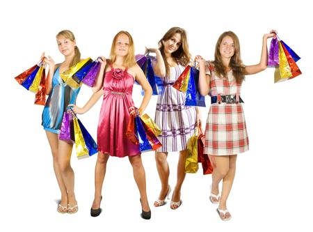 Group of   girls with shopping bags. Isolated over white background Stock Photo - 8135425