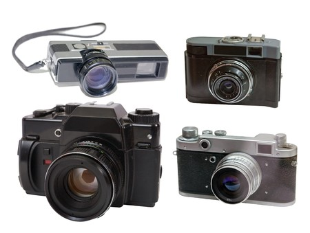 Set of  film photocameras. Isolated over white with clipping path photo