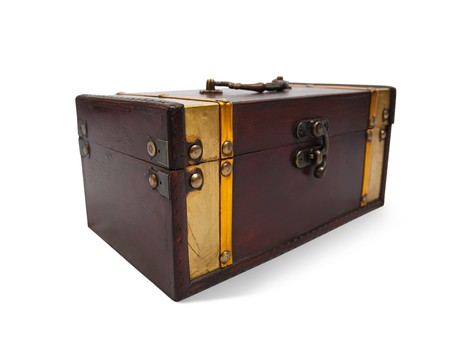 Wooden treasure chest against a white background  photo