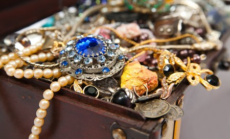 Closeup of Treasure chest with valuables and gem  Stock Photo - 8202609
