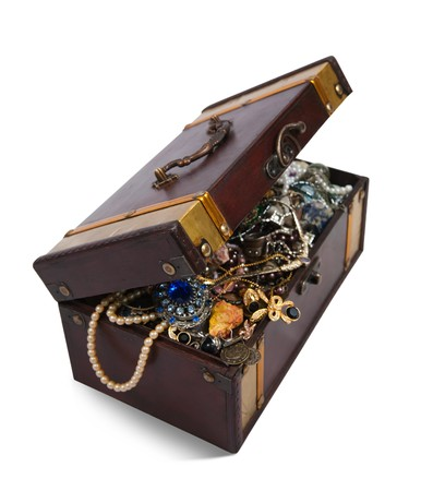 wooden treasure chest with valuables and gem, isolated over white background Stock Photo - 8202596