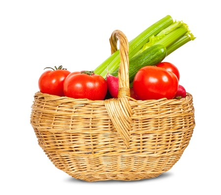 spring fresh and ripe vegetables in basket on white background Stock Photo - 8202612