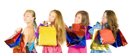 Group of   girls with shopping bags. Isolated over white background Stock Photo - 8273472