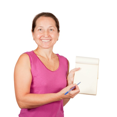 Happy mature woman with notebook over white background photo