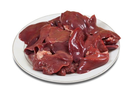offal: Raw fresh bird liver in the white plate. Isolated on white