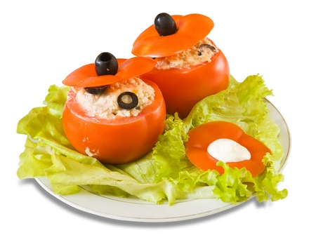 farci: cooked  stuffed tomato salad. See in series stages of cooking of farci tomato  Stock Photo