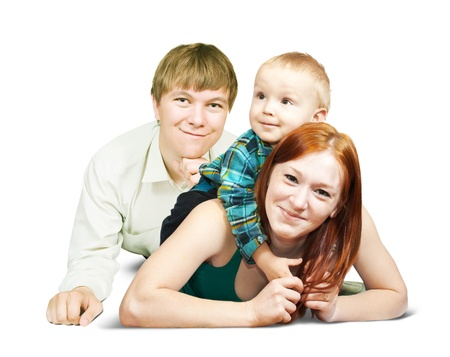 Happy family  from three posing over white background photo