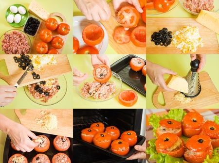 farci: stages of cooking of stuffed tomato at home Stock Photo