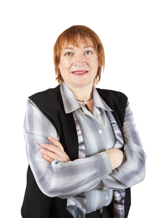 adult only: senior businesswoman  portrait over a white background