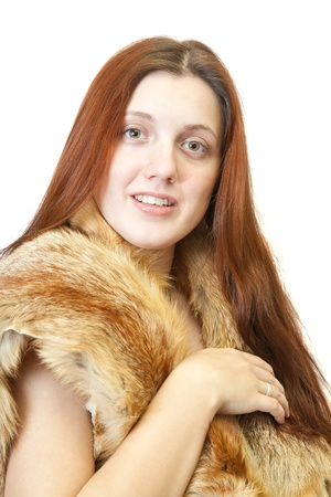 fox fur: Portrait of long-haired girl with fox fur. Isolated on white
