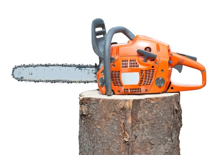 power saw: chain saw on log. Isolated over white background