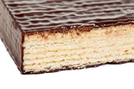 to cake layer: torta di livello di wafer. Isolato su sfondo bianco Archivio Fotografico