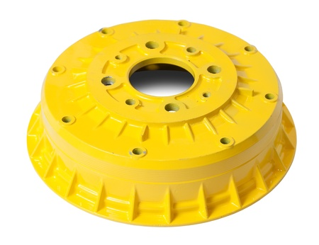 decelerator: Car brake wheel. Isolated on white with clipping path