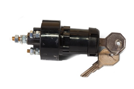 ignition switch with ignition key. Isolated on white background  with clipping path Stock Photo - 8383556