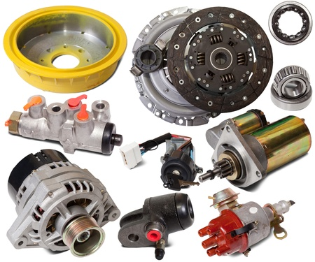 Set of auto parts. Isolated on white background Stock Photo - 8419436