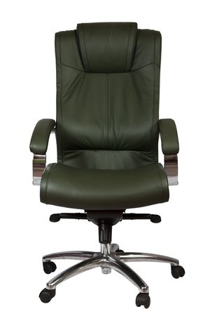 Green luxury office armchair. Isolated on white background  photo