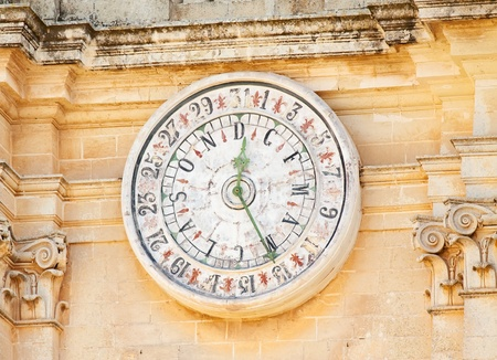 Date Clock on facade of St. Peter & Paul Cathedral at Mdina. Malta Stock Photo - 8508279