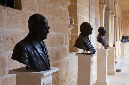 busts: Busts of presidents in San Anton Palace (residence of president) at Attard. Malta Stock Photo
