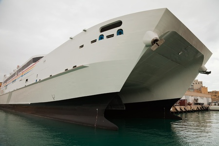 seabus: Big catamaran ferry at mediterranean port (Malta) Stock Photo