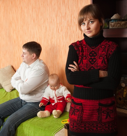 Family of three having quarrel at home Stock Photo - 8524208