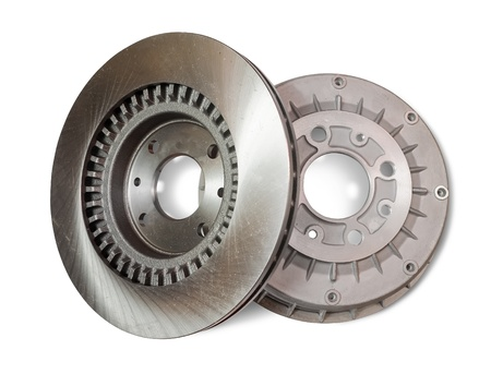 chock: Car brake wheel. Isolated on white with clipping path