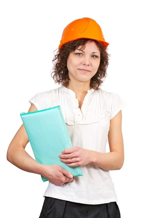 tasker: businesswoman in hard hat with documents  on white background