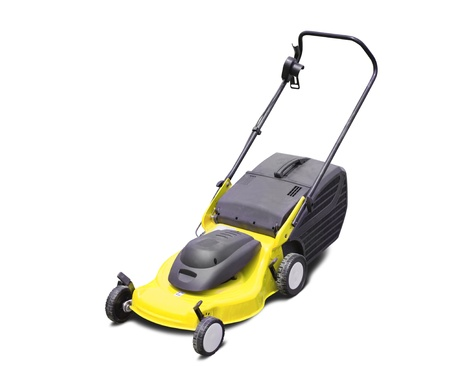 Yellow lawn mower. Isolated with clipping path photo