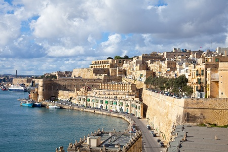 View of old Valletta and Grand Harbour. Malta Stock Photo
