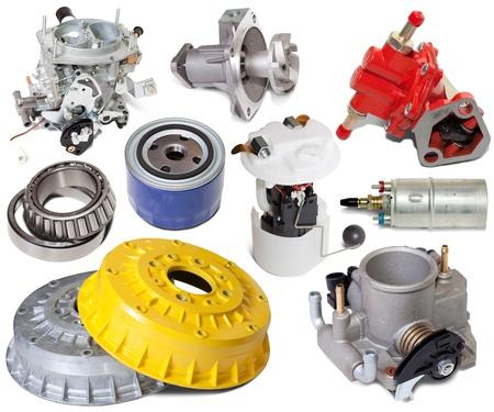 Set of automotive spare parts. Isolated on white background Stock Photo - 8591779